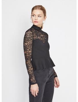 Black Lace Peplum Top by Miss Selfridge