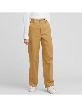 Pantalon Chino Taille Haute Large Femme by Uniqlo