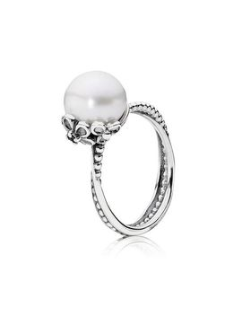 Garden Odyssey Ring, White Pearl & Black Cz by Pandora