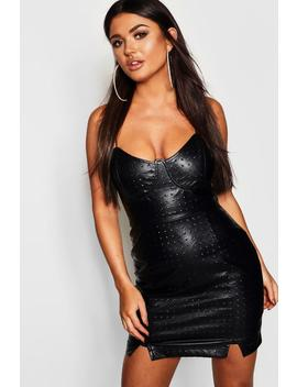 Pu Bustier Detail Bodycon Dress by Boohoo