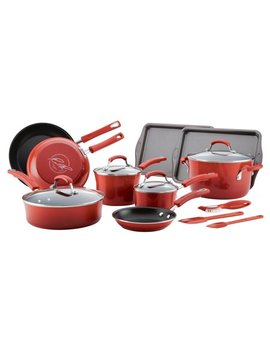 Rachael Ray's 16 Piece Classic Brights Porcelain Enamel Nonstick Cookware Set by Rachael Ray