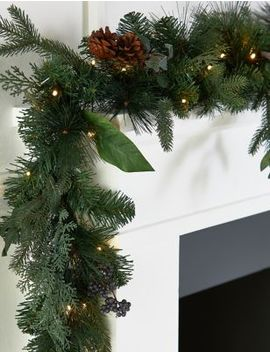 6 Ft Lit Natural Leaf & Berry Garland by Marks & Spencer