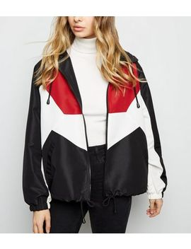 Black Colour Block Windbreaker by New Look