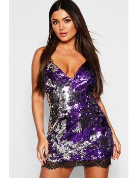 Sequin Strappy Lace Trim Slip Dress by Boohoo