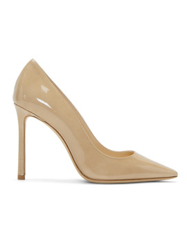 Beige Patent Romy 100 Heels by Jimmy Choo