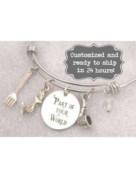 Little Mermaid Engraved   Part Of Your World Bracelet Disney Inspired, Ariel,Dinglehopper, Custom Name Charm Bracelet, Adjustable Bangle by Etsy