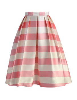 Candy Pink Striped Midi Skirt by Chicwish