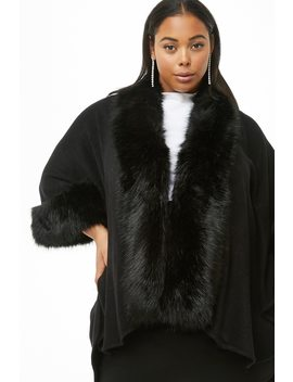 Plus Size May Logan Faux Fur Trim Cape by Forever 21