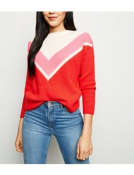 Red Chevron Colour Block Jumper by New Look