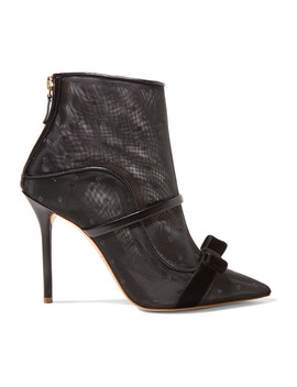 Claudia 100 Velvet And Leather Trimmed Point D'esprit Mesh Ankle Boots by Malone Souliers