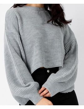 Grey Cropped Knitted Jumper Grey Size M by Ebay Seller