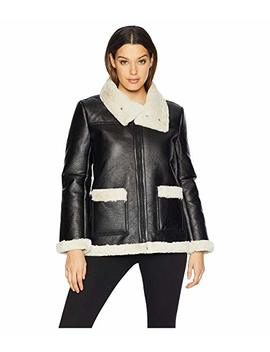 Long Sleeve Pleather Shearling Trimmed Jacket by Vince Camuto