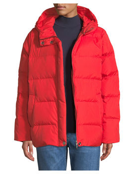 Quilted Nylon Hooded Down Puffer Coat by Eileen Fisher