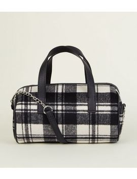 Black Brushed Check Bowler Bag by New Look