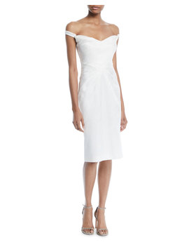 Off The Shoulder Pleated Sheath Cocktail Dress by Zac Posen