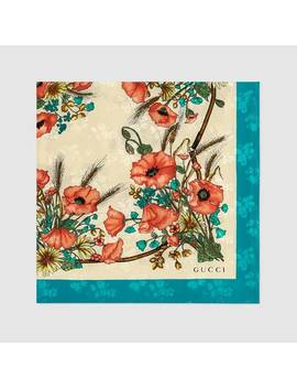 Silk Carré With Poppy Print by Gucci