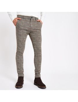 Brown Check Jersey Skinny Fit Trousers by River Island