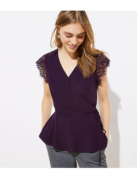Lace Cap Sleeve Wrap Top by Loft