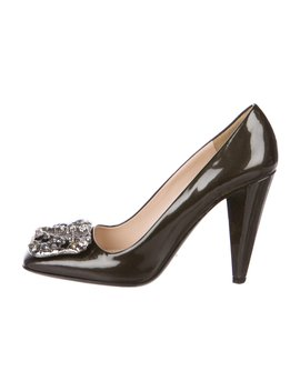Patent Leather Embellished Pumps by Prada