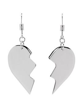 Silver Friendship Heart Earrings by Mm6 Maison Margiela