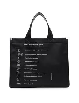 Black Logo Tote Bag by Mm6 Maison Margiela