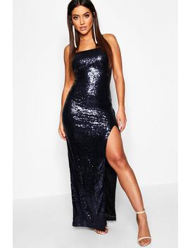Sequin Square Neck Side Split Maxi Dress by Boohoo