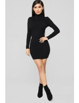 My Favorite Sweater Dress   Black by Fashion Nova
