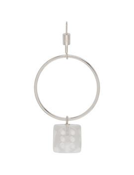 Silver Single Dice Hoop Earring by Mm6 Maison Margiela