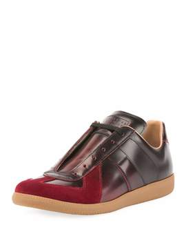 Men's Replica Burnished Leather Low Top Sneakers by Maison Margiela