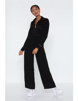 An Absolute Stitch Wide Leg Jumpsuit by Nasty Gal
