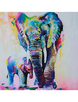 Gemini Mall® Hand Painted Oil Painting Colorful Elephant On Canvas Frameless Modern Pop Canvas Wall Art Print Pictures Home Decor (Elephant, 60cm X 60cm) by Gemini Mall