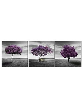 Wieco Art   3 Piece Purple Trees Modern Stretched And Framed Landscape Artwork Giclee Canvas Prints Fall Forest Pictures Paintings On Canvas Wall Art For Living Room Bedroom Home Office Decorations by Wieco Art