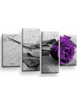 Floral Purple Rose Love Art Picture Grey Black Flower Home Wall Canvas Split Panel Print by Le Reve Canvas Art