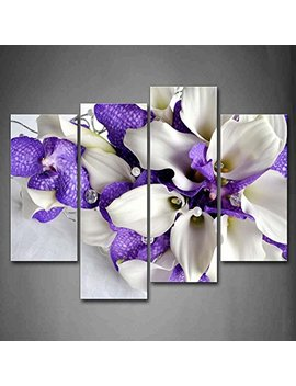 Bunch Of Flowers In White And Dark Purple Wall Art Painting Pictures Print On Canvas Flower The Picture For Home Modern Decoration by First Wall Art