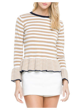 Crewneck Striped Knit Peplum Top by English Factory