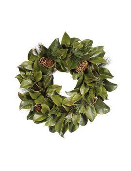 Faux Magnolia Leaf & Pine Wreath by Pottery Barn