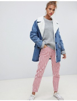 Pull&Bear Denim Coat With Fleece Collar In Blue by Pull&Bear