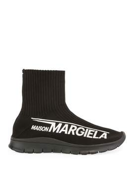 Men's Logo Knit High Sock Sneakers by Maison Margiela