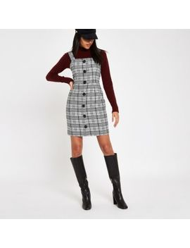 Grey Check Button Front Pinafore Dress by River Island