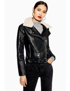Petite Borg Collar Faux Leather Biker Jacket by Topshop