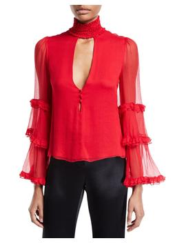 Hiro High Neck Ruffle Keyhole Top by Alexis