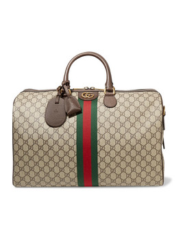 Ophidia Medium Textured Leather Trimmed Printed Coated Canvas Weekend Bag by Gucci