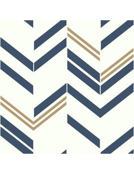 Room Mates Blue Chevron Stripe Peel And Stick Wallpaper by Lowe's