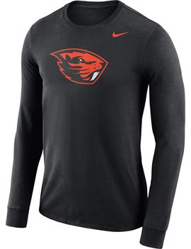 Nike Men's Oregon State Beavers Black Dri Fit Logo Long Sleeve Shirt by Nike