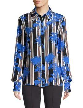 Stripe Button Down Silk Shirt by Diane Von Furstenberg