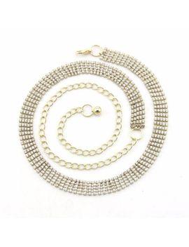 Ladies Belt Gold 5 Row Diamante Rhinestone Diamond Ladies Waist Chain Ladies by Ebay Seller