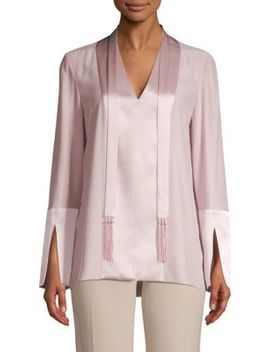 Mavrick Silk Charmeuse Two Tone Blouse by Elie Tahari