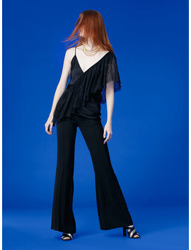 Asymmetric Sleeve Ruffle Lace Top by Dvf