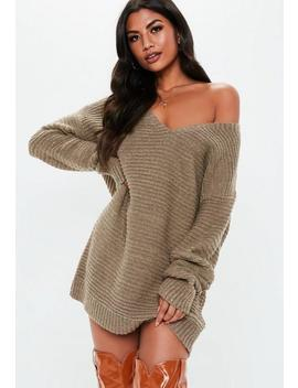 Almond V Neck Ribbed Knitted Sweater Dress by Missguided