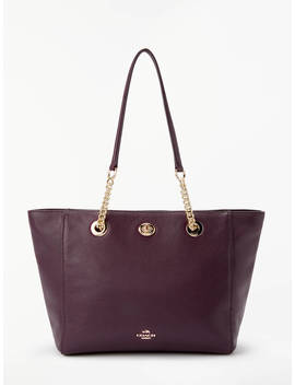 Coach Turnlock 27 Chain Leather Tote Bag, Oxblood by Coach